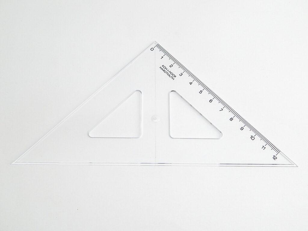 Trojúhelník 744100 45/141 čirý s kolmicí