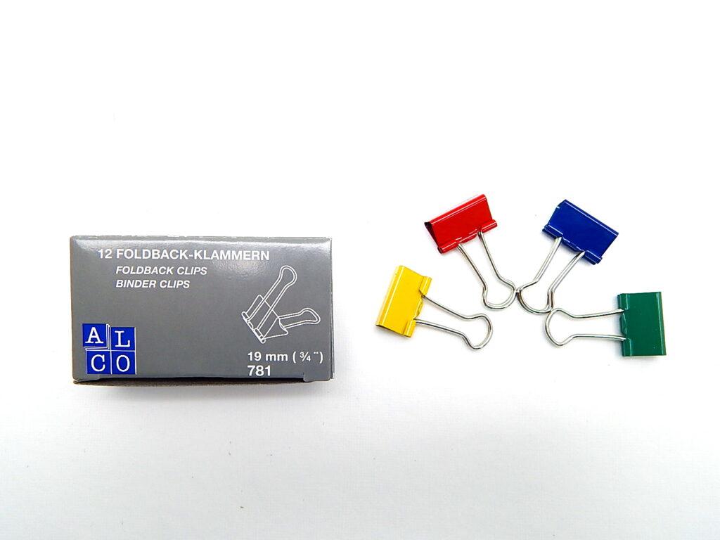 Klip BINDER barevný 421/19 mm / bal