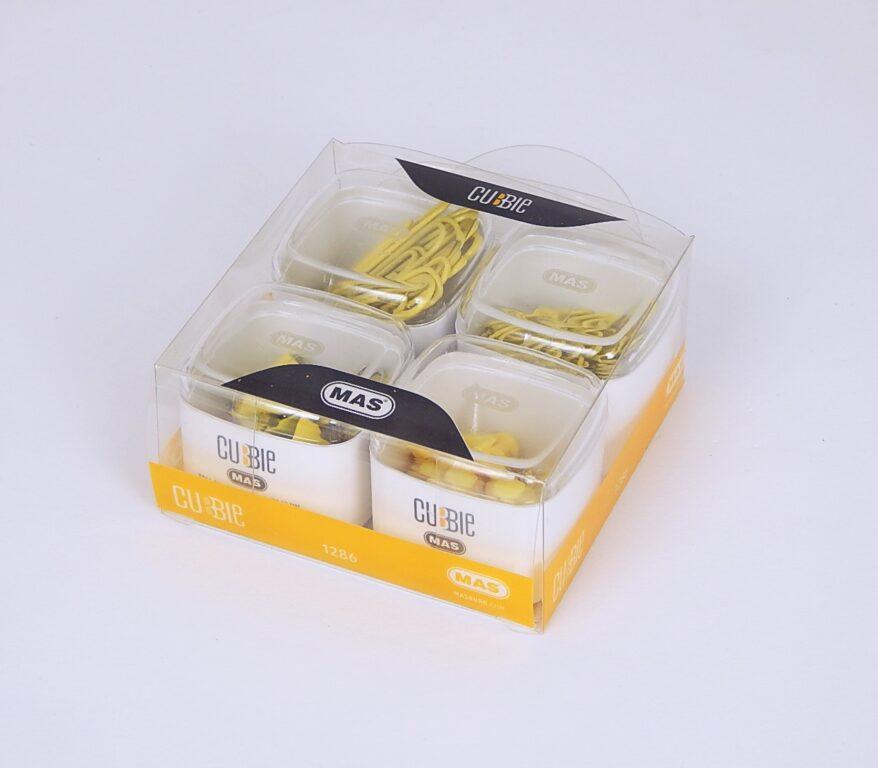 Sponky, klip. přip. Box čtyřdíl. PVC žlutá / 1286