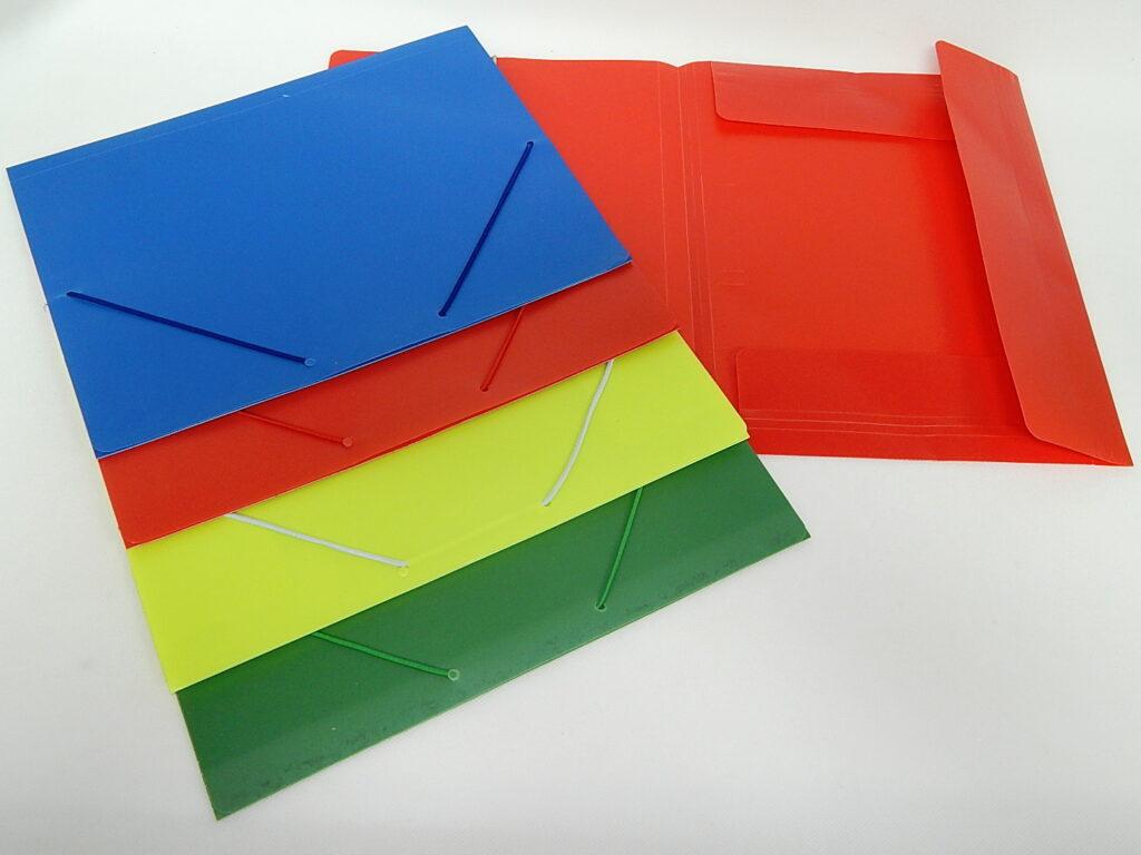 Složka A4 3 klopy s gumou PP MIX barev