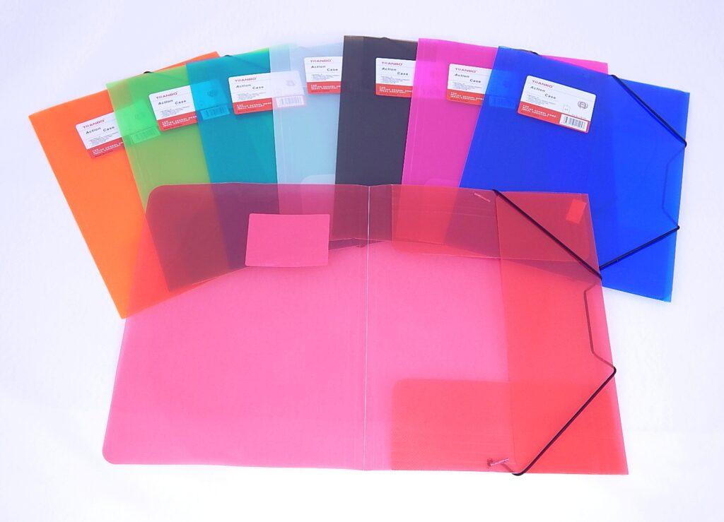 Složka A4 3 klopy s gumou 4 barvy mix PP