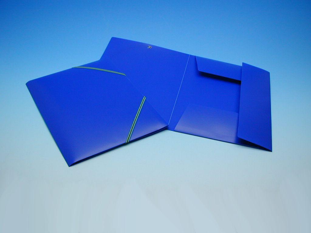 Složka A4 3 klopy s gumou modrá KP /2-537/