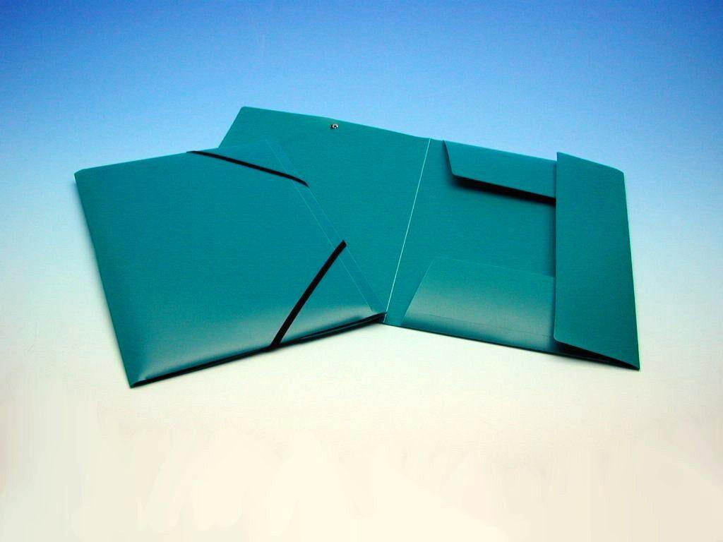 Složka A4 3 klopy s gumou zelená KP /2-535/