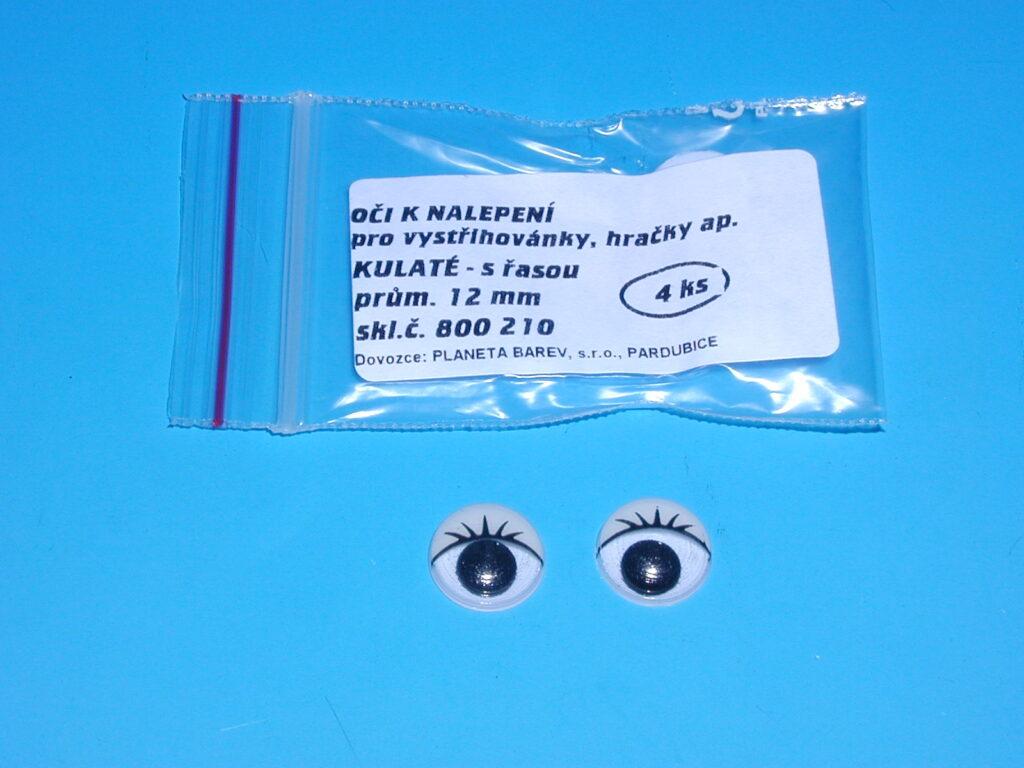Oči 800210 12mm/4ks kulaté s řasou