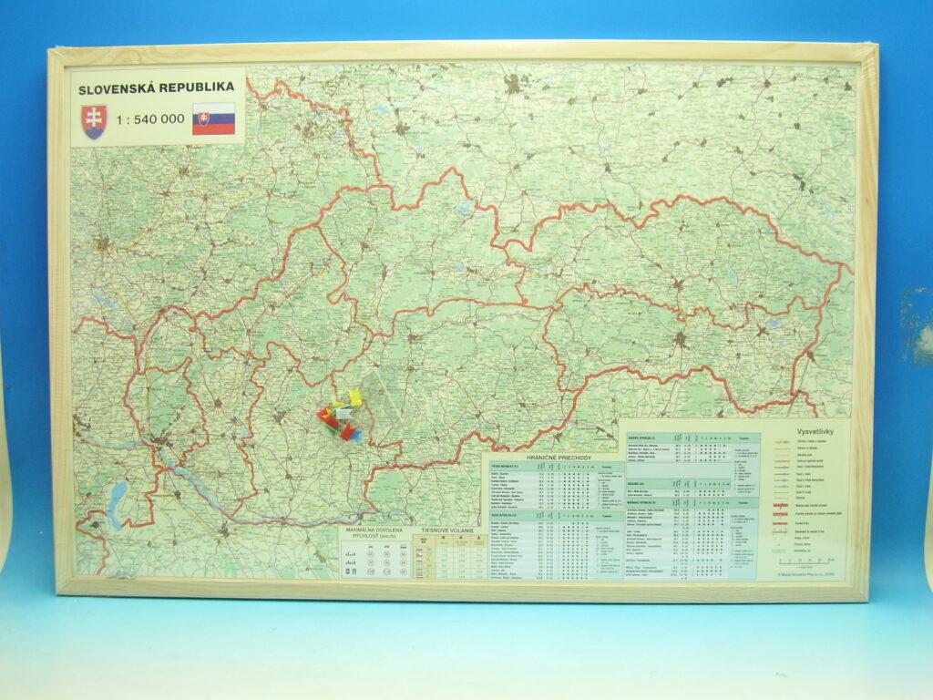Tabule korková 90x60 Mapa SR