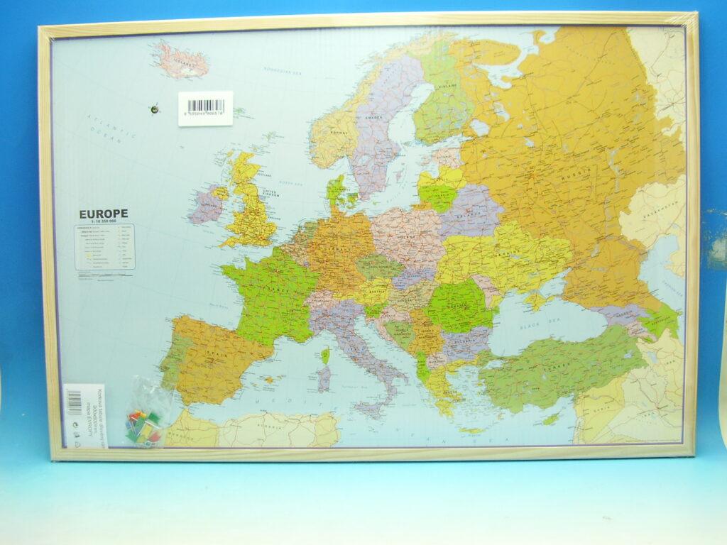 Tabule korková 90x60 Mapa Evropa