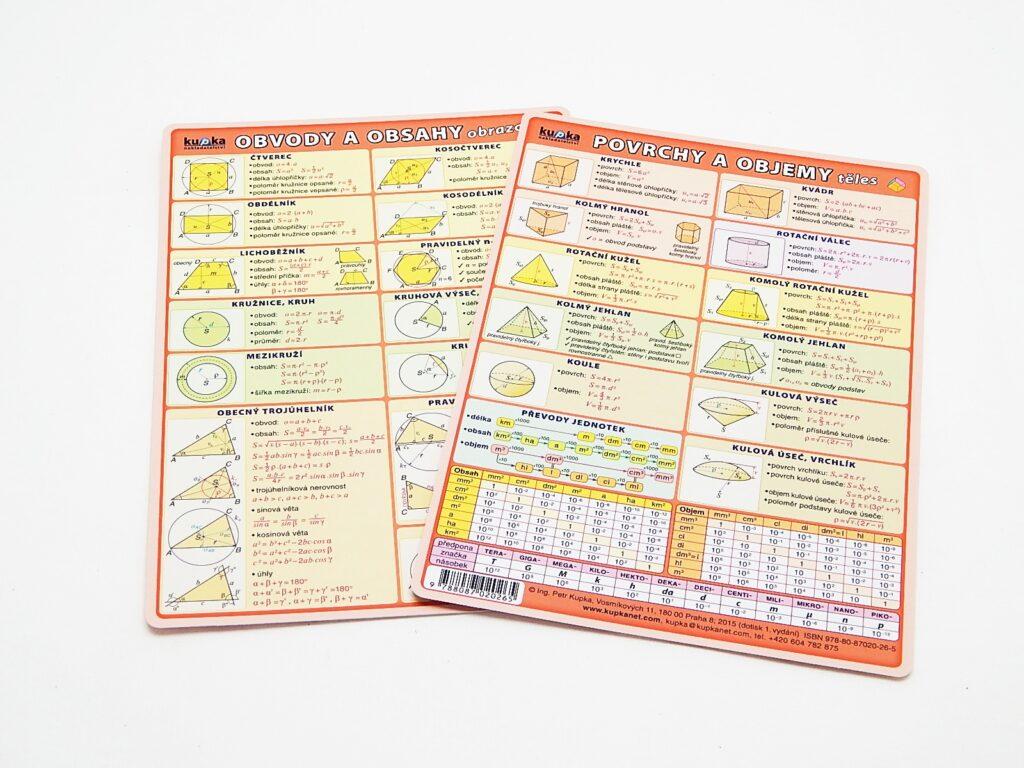 Tabulka Obvody a obsahy, Povrchy a objemy