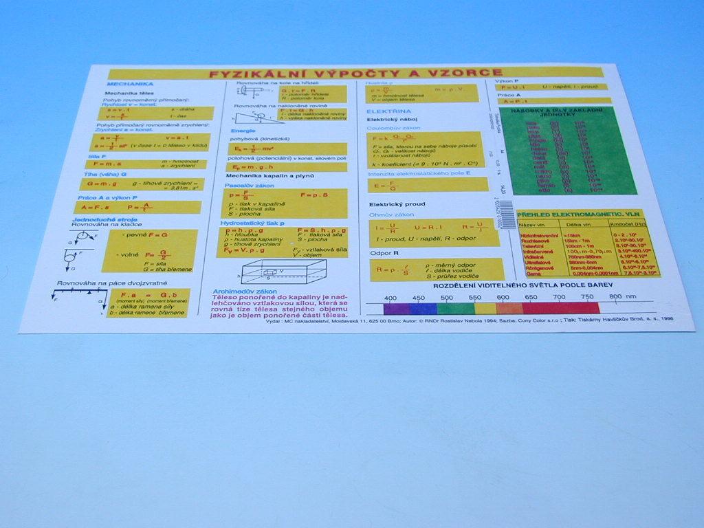 Tabulka Fyzika-výpočty a vzorce