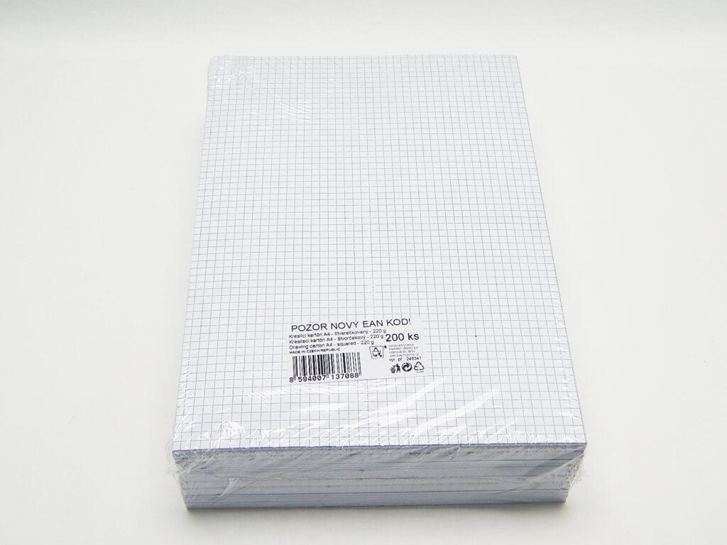 Karton kreslící A4/220g čtverečkovaný