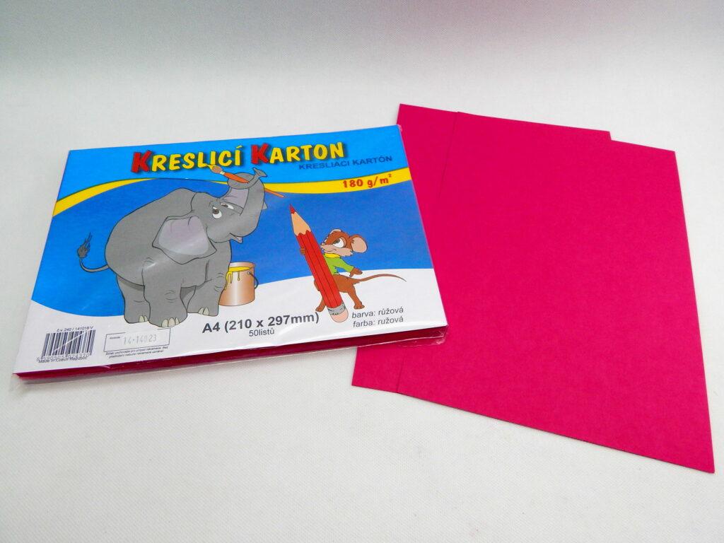 Karton kreslící A4/ 50 ks RŮŽOVÝ 180 g/bal