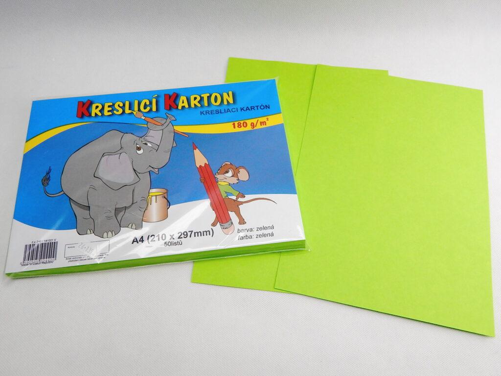 Karton kreslící A4/50 ks ZELENÝ 180 g