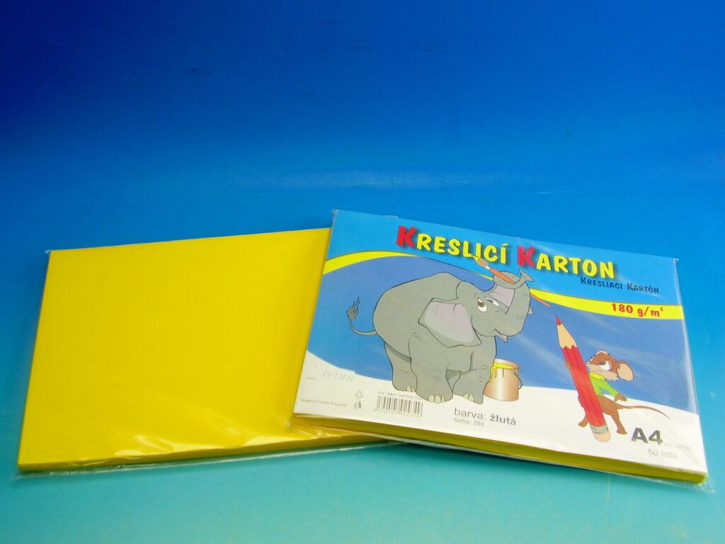 Karton kreslící A4/50ks žlutý 180g / ks