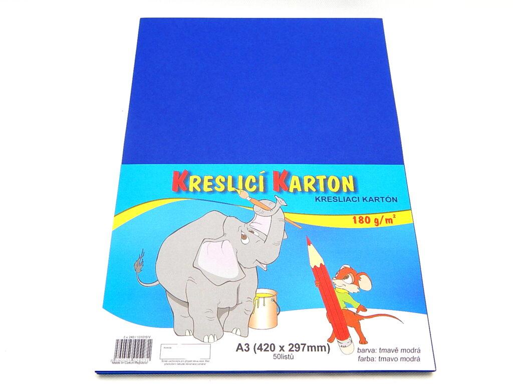 Karton kreslící A3/180g, tm. modrá / bal