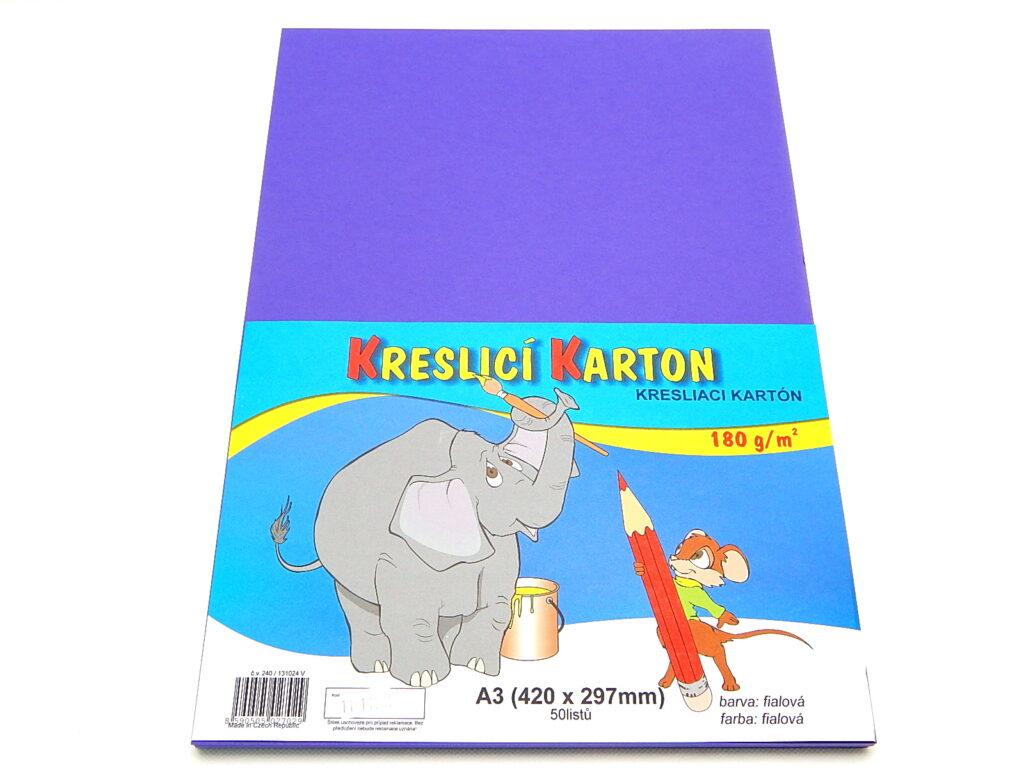 Karton kreslící A3/180g, fialová / bal