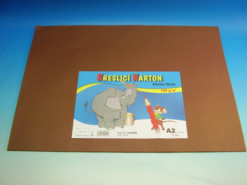 Karton kreslící A2/10ks HNĚDÝ 180g / ks
