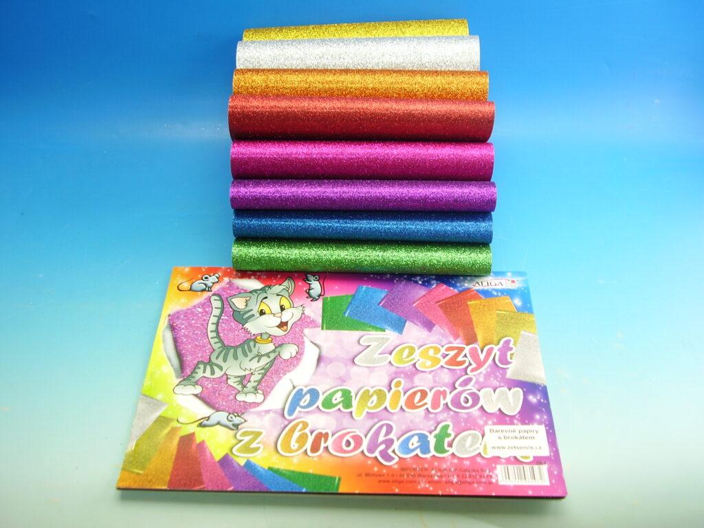 Blok barevných papírů A4 Brokát  8ks