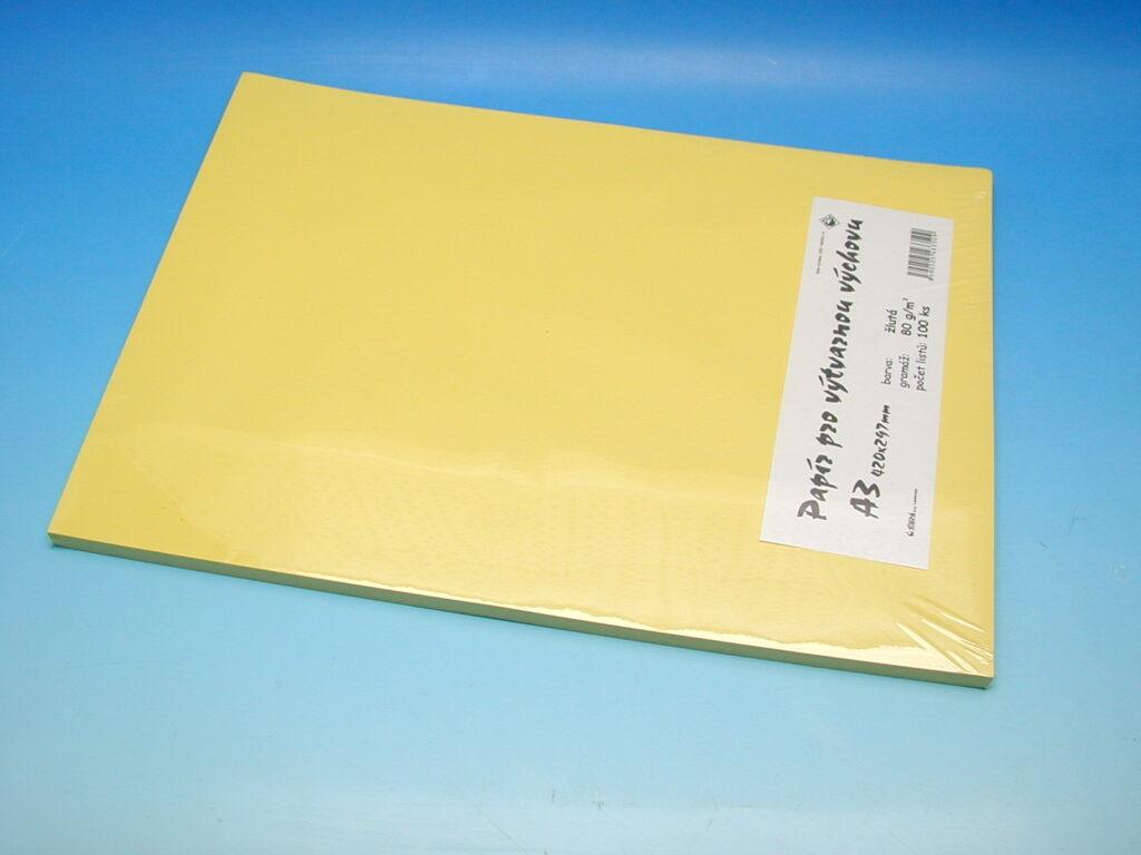 Papír A3 žlutý EKO 100ks