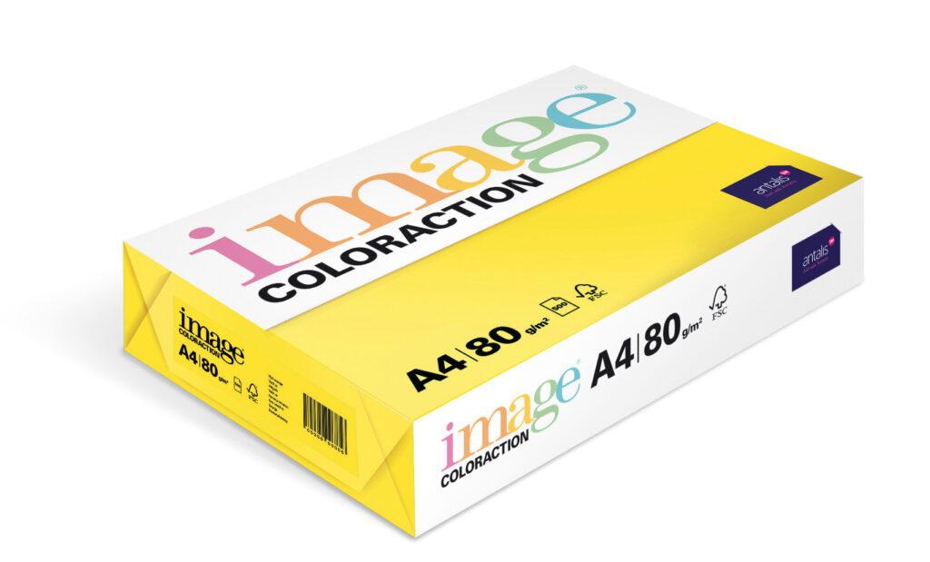 Papír kancelářský A4/100ks sytě žlutý 80g, 393508