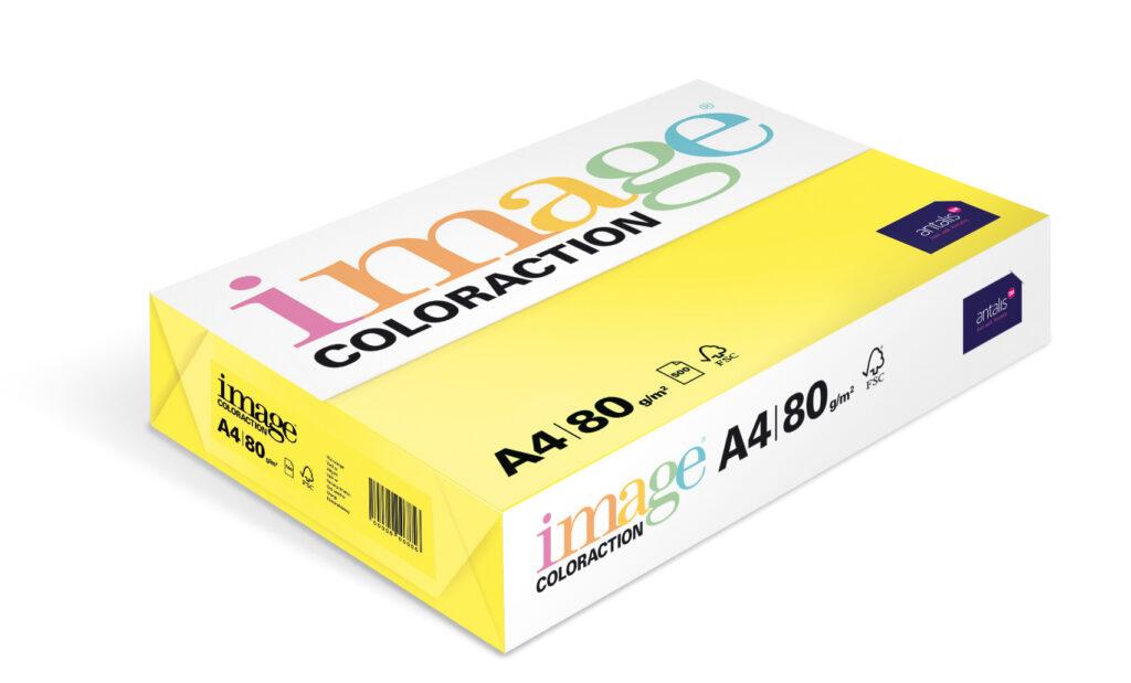 Papír kancelářský A4/100ks stř. žlutý 80g, 393504