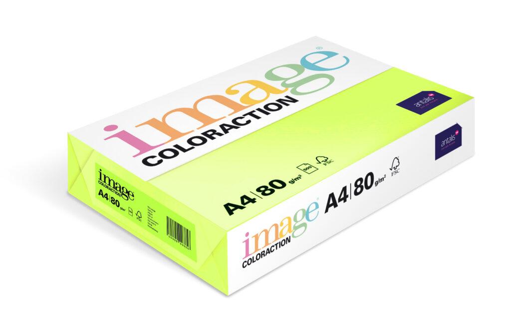 Papír kancelářský A4/100ks reflexní zelená 80g, 393514