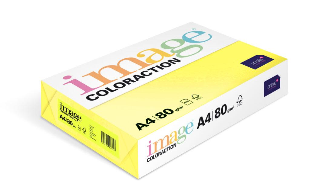 Papír kancelářský A4/100ks reflexní žlutá 80g, 393512