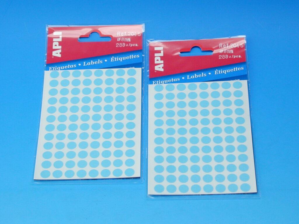 Etikety APLI pr. 8mm modré   (2045)