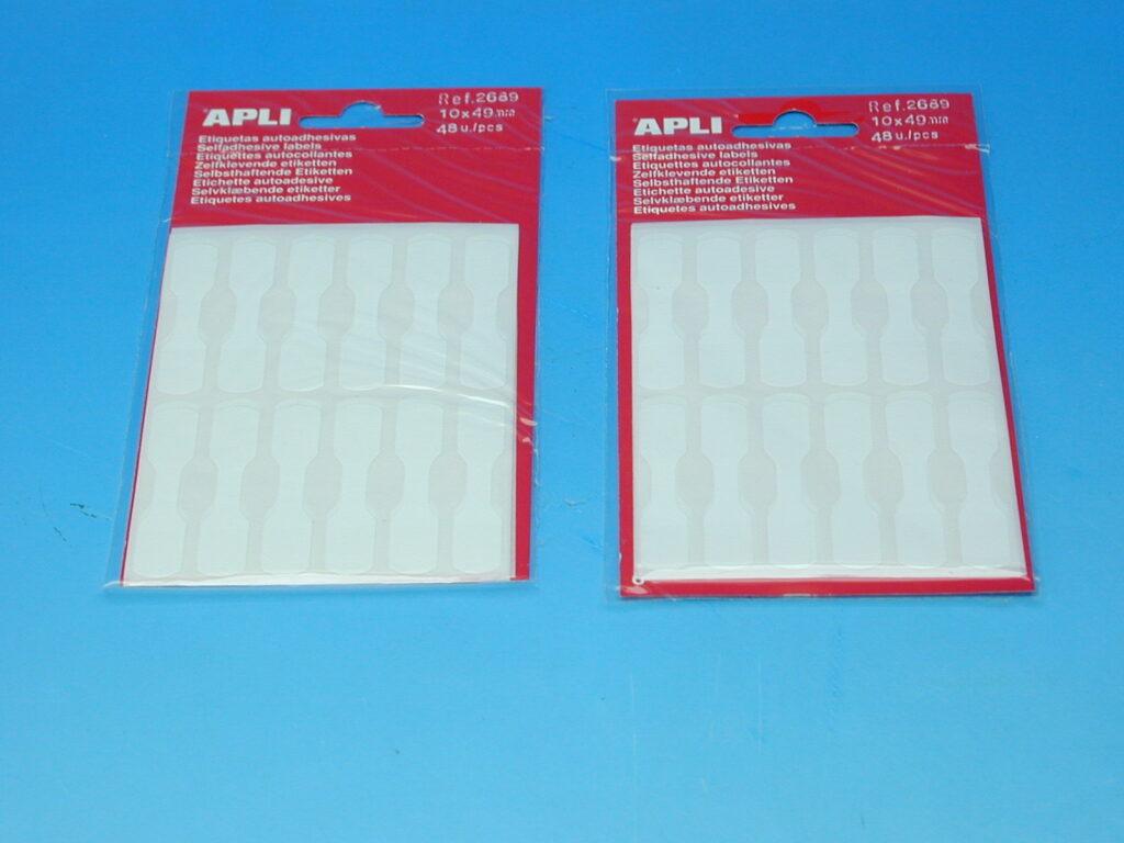 Etikety APLI 10x49mm klenoty (2689) bílé