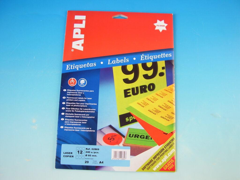 Etikety APLI pr.60mm, fluor. zelené (2869)