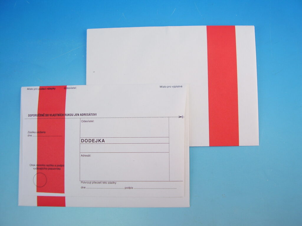 Obálka DODEJKA červený pruh B6 EKO, nepropis. 1141665