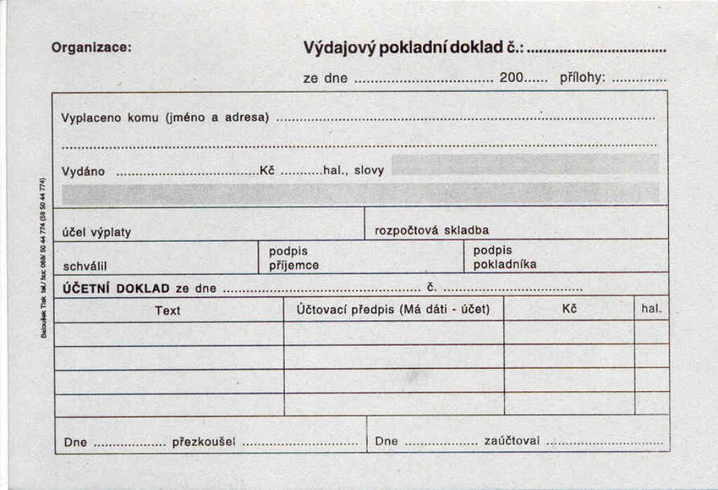 Doklad výdajový pokl.i pro PÚ A6, 50l /ET050/