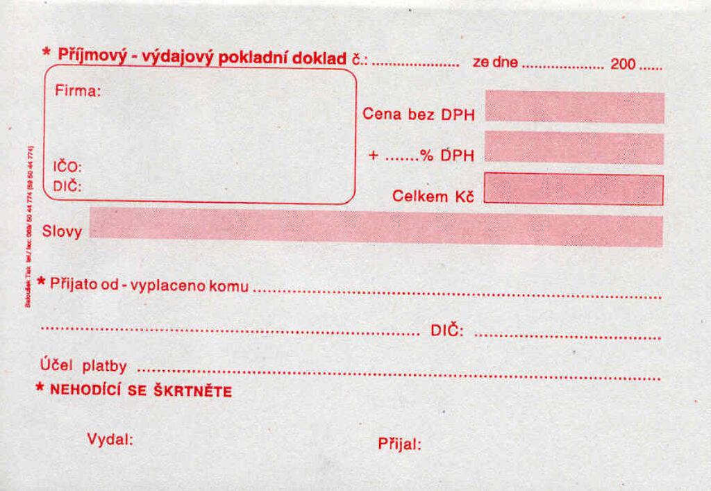 Doklad příjmový-výdajový poklad.- univerz. A6, 50l /ET060/