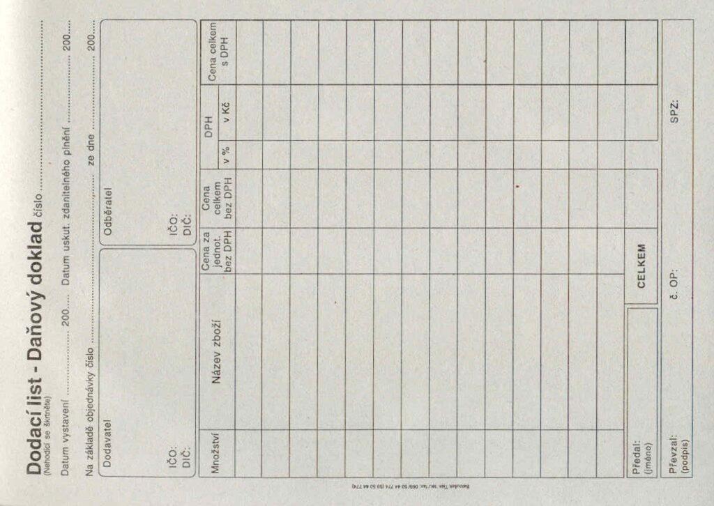 Doklad dodací list - daňový A5, 50l /ET130/