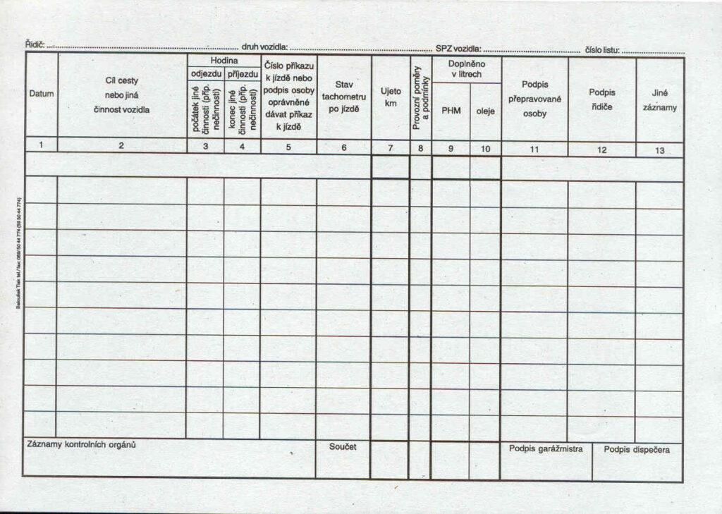 Záznam o provozu osob.voz.A5, 50l /ET205/