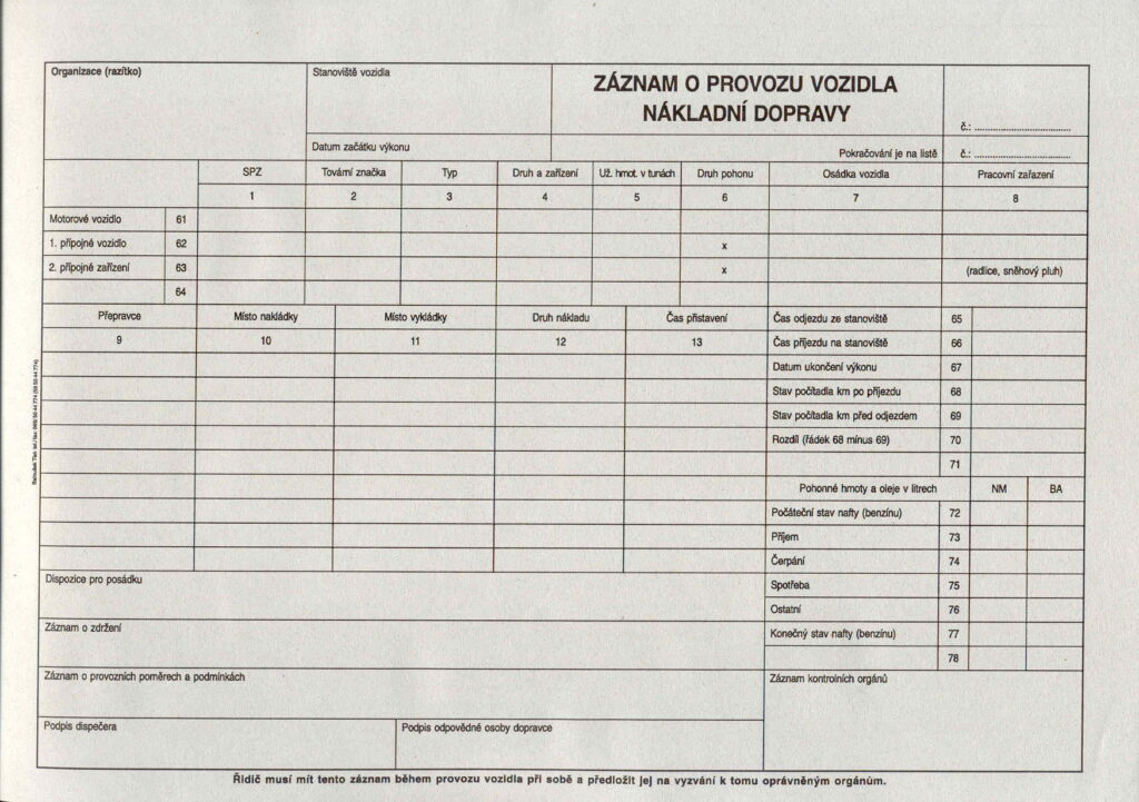 Záznam o provozu vozidel ND A4, 50l /ET210/