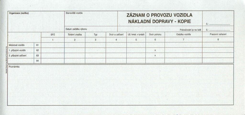 Záznam o prov.vozidel ND 2/3A4-alonž, 50l /ET220/