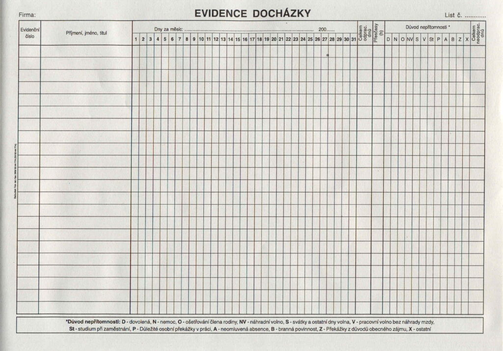 Evidence docházky  A4, 10l /ET407/