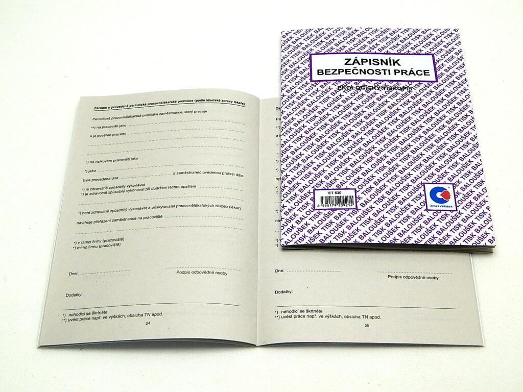 Zápisník bezpečnosti práce A5, 40str., /ET530/