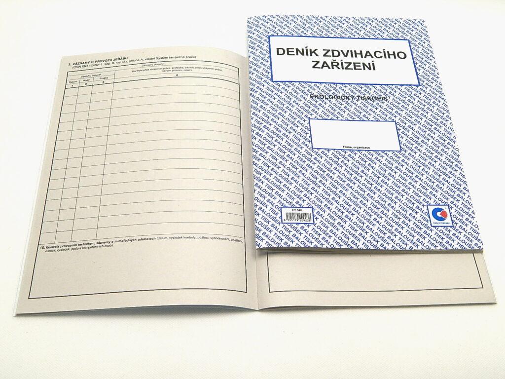 Deník zdvihacího zařízení A4, 80str., /ET540/