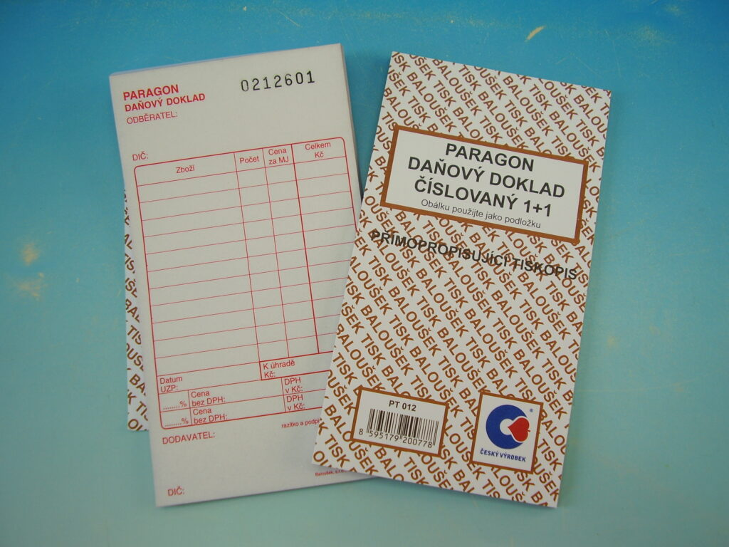 Paragon-daň.doklad číslovaný, propis., 50l, /PT012/