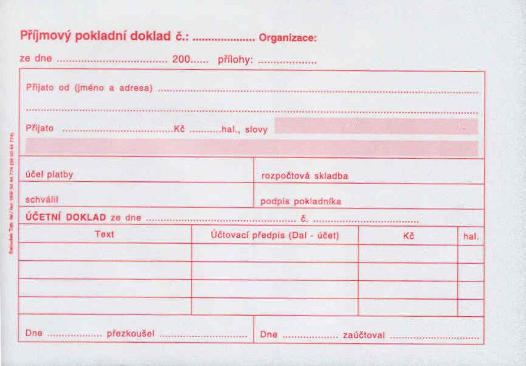 Doklad příjmový pokl. i PÚ A6, propis., /PT030/