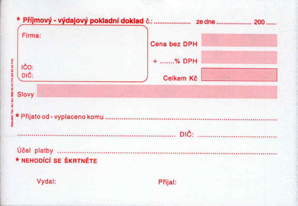 Doklad příjmový-výdajový univerzal. A6, propis. /PT060/