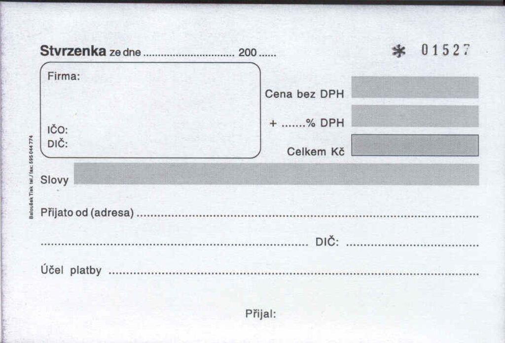 Stvrzenka A6 číslovaná, propis. /PT072/