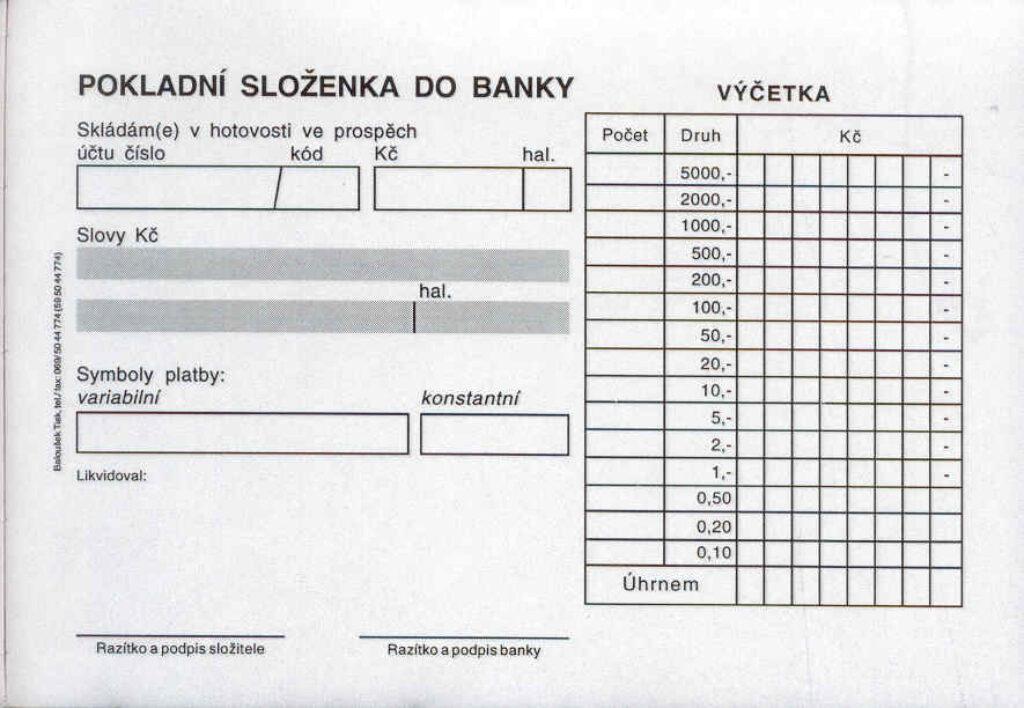 Složenky pokladní do banky A6, propis., /PT080/