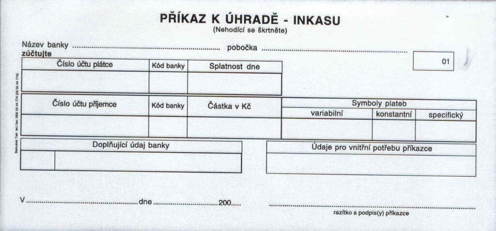 Příkaz k úhradě 1/3A4, propis. /PT090/