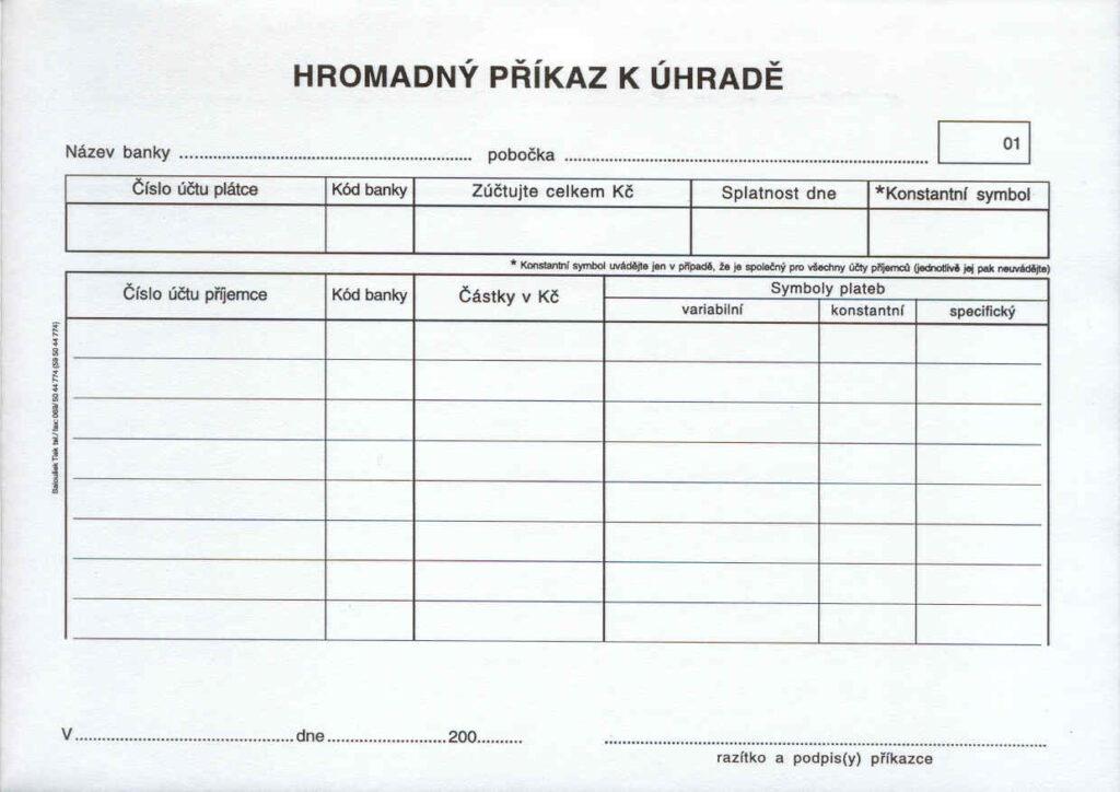 Příkaz k úhradě - hromadný A5, propis., /PT100/
