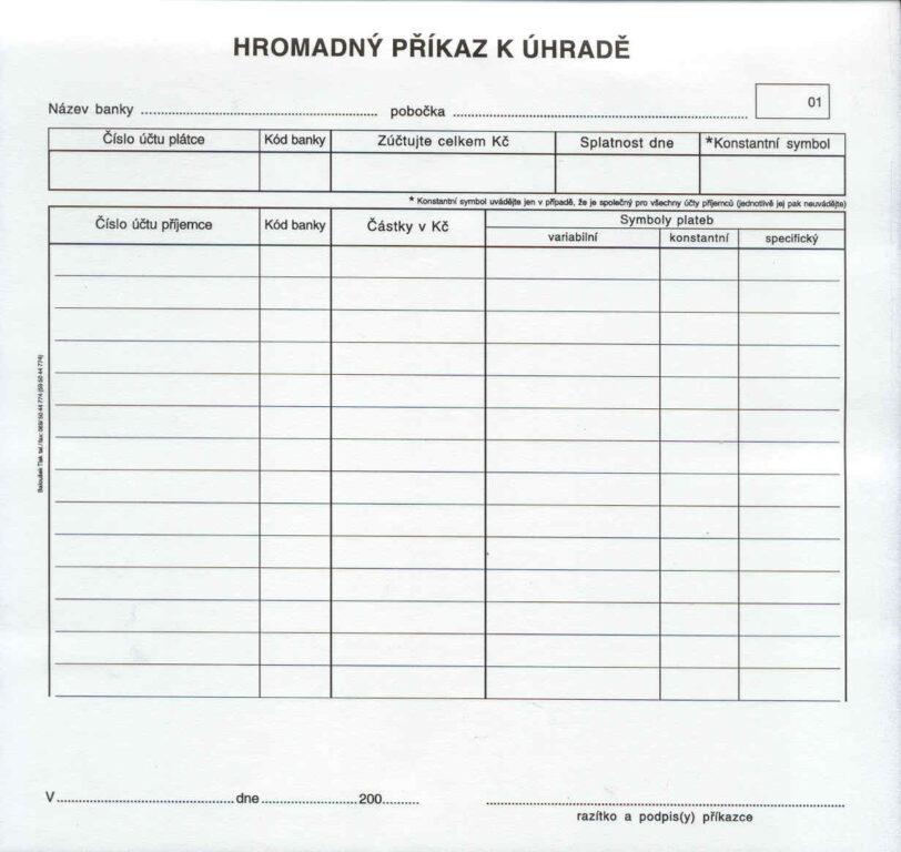 Příkaz k úhradě - hromadný 2/3 A4, propis., /PT110/