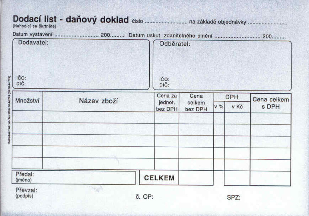 Doklad dodací list A6-daň. propis., /PT130/