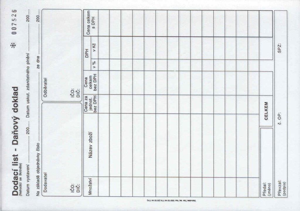 Doklad dodací list A5-daň.čís. 1+1, propis., /PT142/