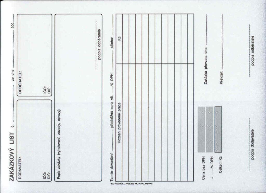 List zakázkový lA5, propis. /PT180/