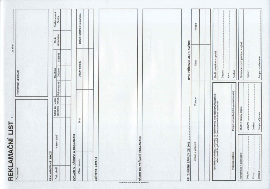 List reklamační A4, propis., /PT195/